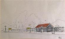 Small town Railway Station - Illustration by Vasant Sarwate - one of my proud possessions